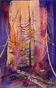 Salmon Painting Posters - Yellowstone Fire Poster by Pati Pelz
