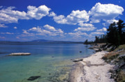 Landscape Prints Framed Prints - Yellowstone Lake Framed Print by Kathy Yates