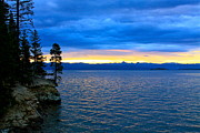 Bleu Posters - Yellowstone Lake Sunrise Poster by Karon Melillo DeVega