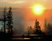Lakescape Tapestries Textiles - Yellowstone Lake Sunrise over West Thumb by Ed  Riche