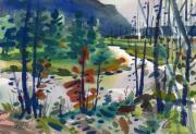 Yellowstone Painting Originals - Yellowstone River by Donald Maier