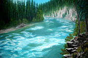 National Parks Paintings - Yellowstone River by Jimmy McAlister