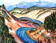 National Parks Paintings - Yellowstone river by Nadiya Kochura