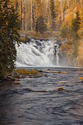 Waterfall Prints - Yellowstone Waterfall at Autumn Print by Andrew Soundarajan