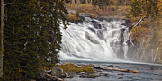 Whitewater Posters - Yellowstone Waterfall Panorama Poster by Andrew Soundarajan