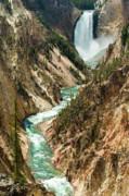 Yellowstone Waterfalls Print by Sebastian Musial