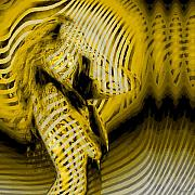 Op Art Digital Art Posters - YellowStripedNude Poster by Dieter Bruhns