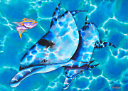 Sea Tapestries - Textiles Framed Prints - Yellowtail Snapper and  Dolphins Framed Print by Daniel Jean-Baptiste