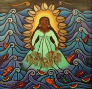 Waves Paintings - Yemaya by Laura James