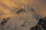 Mountain Prints - Yerupaja Summit Ridge 6617m At Sunset Print by Colin Monteath