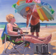 Beach Umbrella Framed Prints - Yes Dear Framed Print by Laura Lee Zanghetti