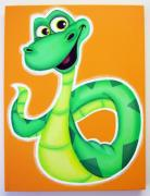 Jungle Pastels Originals - YES it is a cute snake by Mara Morea