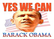 Barack Obama Digital Art Framed Prints - YES WE CAN - Barack Obama Poster Framed Print by Peter Art Print Gallery  - Paintings Photos Posters