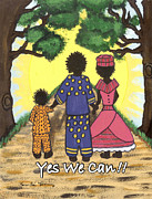 African Cloth Framed Prints - Yes We Can Framed Print by Karen-Lee