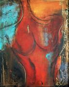 Abstract Art For The Home Mixed Media Posters - YES Woman in Red Poster by Anahi DeCanio