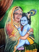 Devotional Paintings - Yeshodha and Kannan by Mahith  Mohan