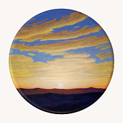 Clouds Sunset Painting Prints - Yesterday Print by Brian  Commerford