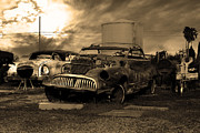 Rusty Old Cars Posters - Yesterday Came Early . Tomorrow Is Almost Over 2 . Sepia Poster by Wingsdomain Art and Photography