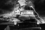Jalopy Prints - Yesterday Came Early . Tomorrow Is Almost Over . bw Print by Wingsdomain Art and Photography
