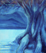 Tree Roots Painting Posters - Yggdrasil the World Tree Poster by Ida Kendall