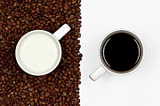 Coffee Cup Posters - Yin And Yang Coffee And Milk Poster by Gert Lavsen Photography