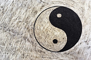 Yin And Yang Symbol On Drum Print by Sami Sarkis