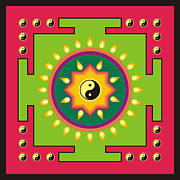 Meditating Digital Art Posters - Yin Yang mandala 2 Poster by Steeve Dubois