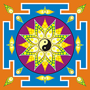 Meditating Digital Art Posters - Yin Yang mandala Poster by Steeve Dubois