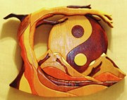 Intarsia Sculpture Posters - Yin Yang Poster by Russell Ellingsworth
