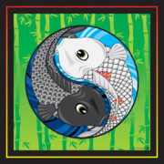 Koi Digital Art - Ying Yang Koi by Howard Pacheco