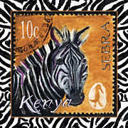 African Art Posters - Yipes Z-Stripes Poster by Debbie McCulley