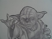 Star Drawings Framed Prints - Yoda Framed Print by Brian Typhair