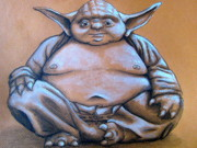 Buddha Drawing Prints - Yoda Buddha Print by Gloria Dominez