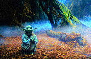 Star Wars Mixed Media Prints - Yoda Print by David Donan