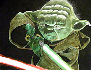 Movie Star Painting Originals - Yoda Fights by Jacob Logan