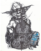 Star Drawings Metal Prints - Yoda Soothes Baby R2 With the Charm of His Homegrown Cello Metal Print by Iosua Tai Taeoalii
