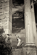 Old Ruins Framed Prints - Yoga at Apollo Framed Print by Stylianos Kleanthous