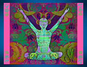 Paisley Blue Fabric Framed Prints - Yoga Card Framed Print by Dana Vogel