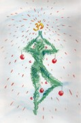 Christmas Card Drawings Posters - Yoga Christmas  Poster by Anastasiya Brazhnykova