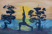 Yoga Pose Paintings - Yoga High Lunge Pose  by Donna Walsh
