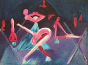 Athletic Paintings - Yoga Postures by Suzanne  Marie Leclair