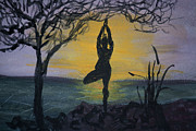 Yoga Pose Paintings - Yoga Tree Pose by Donna Walsh