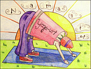 Junk Drawings - Yogaurt Namaste by Rebecca  Stephens