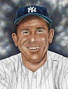 New York Yankees Drawings - Yogi Berra by Rob Payne