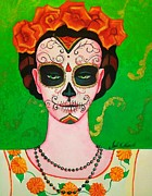 Dia De Los Muertos . Mexican. Face   Skull Paintings - Yolanda  by John S Huerta