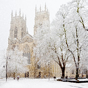 Flurry Framed Prints - York Minster Snow Storm Framed Print by John Potter