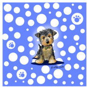 Fun Mixed Media Prints - Yorkie Boy on Blue Print by Kim Niles