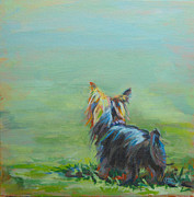 Pet Portrait Paintings - Yorkie in the Grass by Kimberly Santini