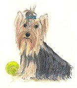 Tennis Pastels Prints - Yorkie Indy at Play Print by Jessica Raines