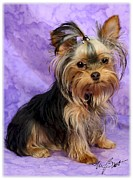 Puppies Digital Art Metal Prints - Yorkshire Terrier Pup Metal Print by Maxine Bochnia